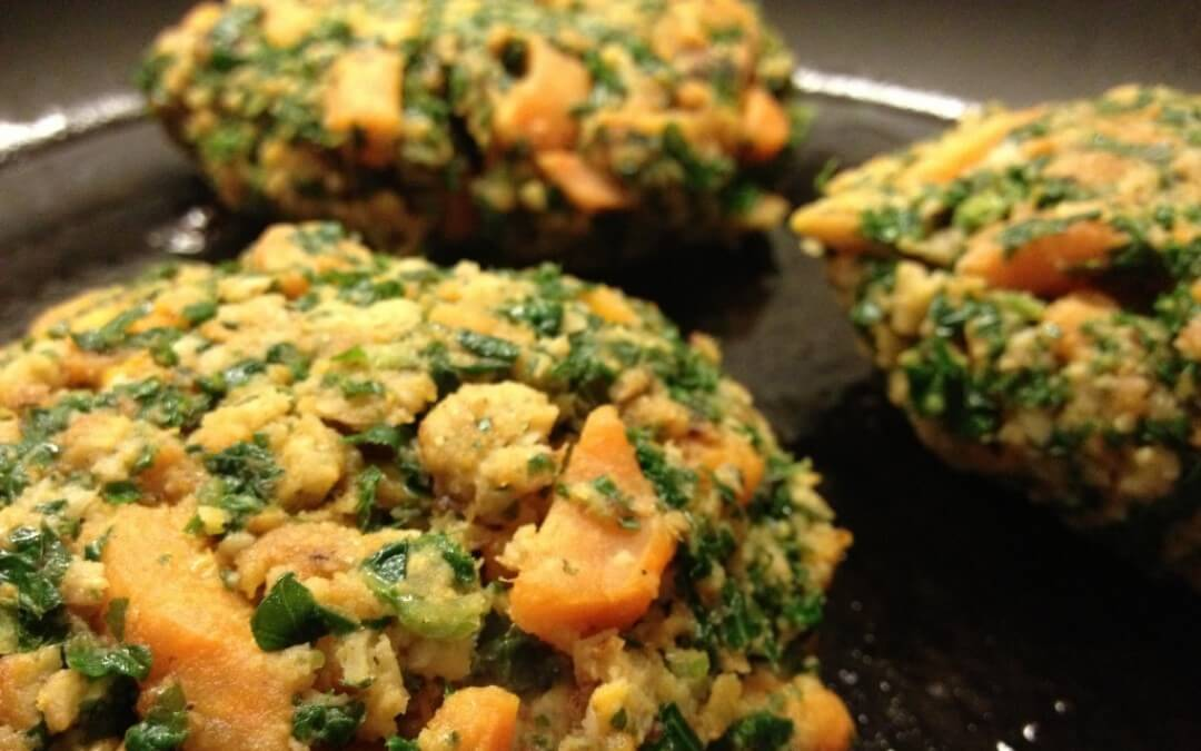 Boerenkoolpatties met zoete aardappel en quorn