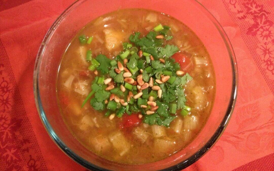 Rabarbersoep met tomaat en ananas
