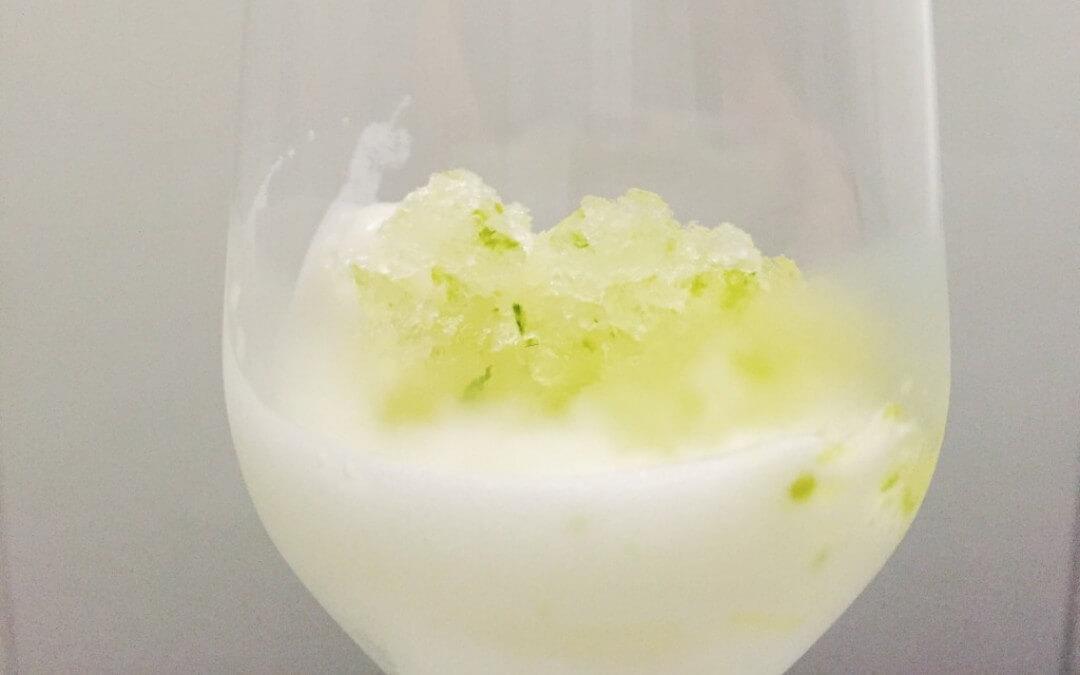 Kerstmenu: spoom met Brasil Basil Lime sorbet en granita van limoen