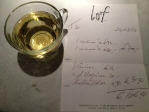 Restaurant lof handgeschreven rekening