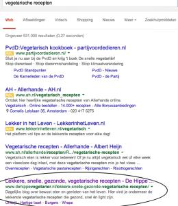 Google resultaat De Hippe Vegetarier