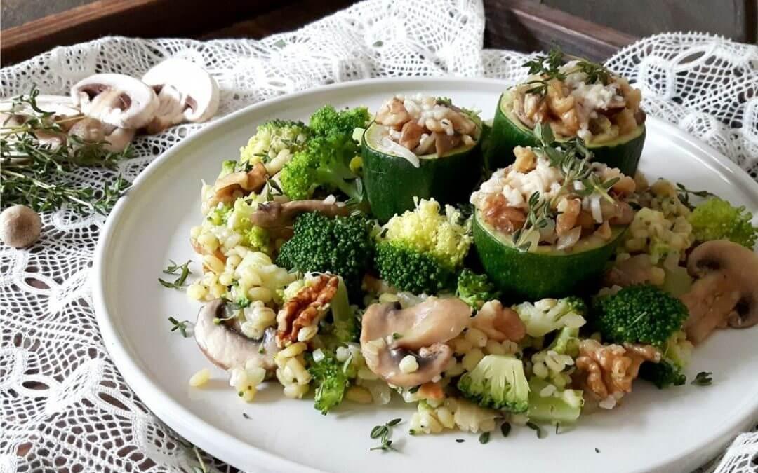 Gevulde courgette met ratatouille van champignons