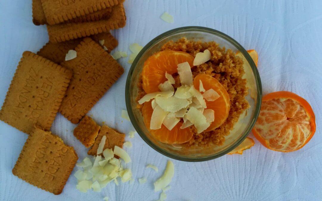 Trifle met mandarijn en kokoskoekjes