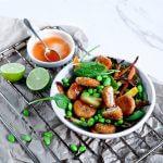Veggie bowl met edamame en quorn roerbakreepjes