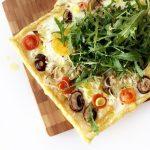 Paasmenu: ontbijt taart met gruyère, champignons en prei