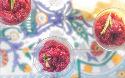 Zonder ijsmachine: granité van rode wijn en rood fruit