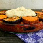 Vegan moussaka met aubergine en zoete aardappel