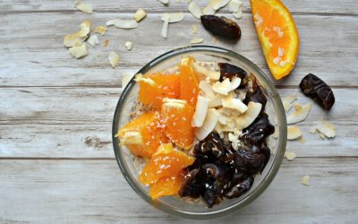 Overnight oats: Sinaasappel met dadels en kokos