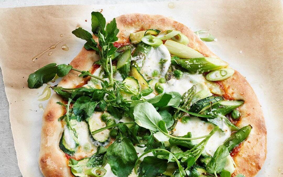 Groene veggie pizza