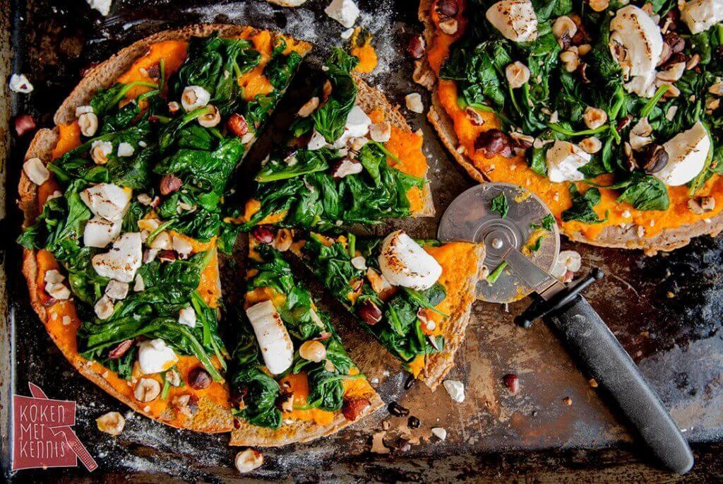 Boekweitpannenkoekjes met spinazie en pompoen