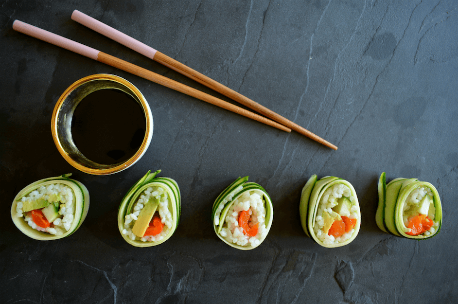 Vegan courgette sushi