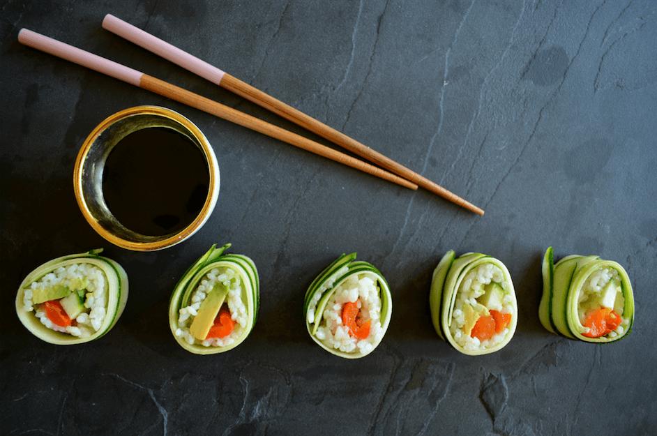 Vegan courgette sushi