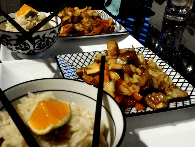 Spitskool met champignons en rijst