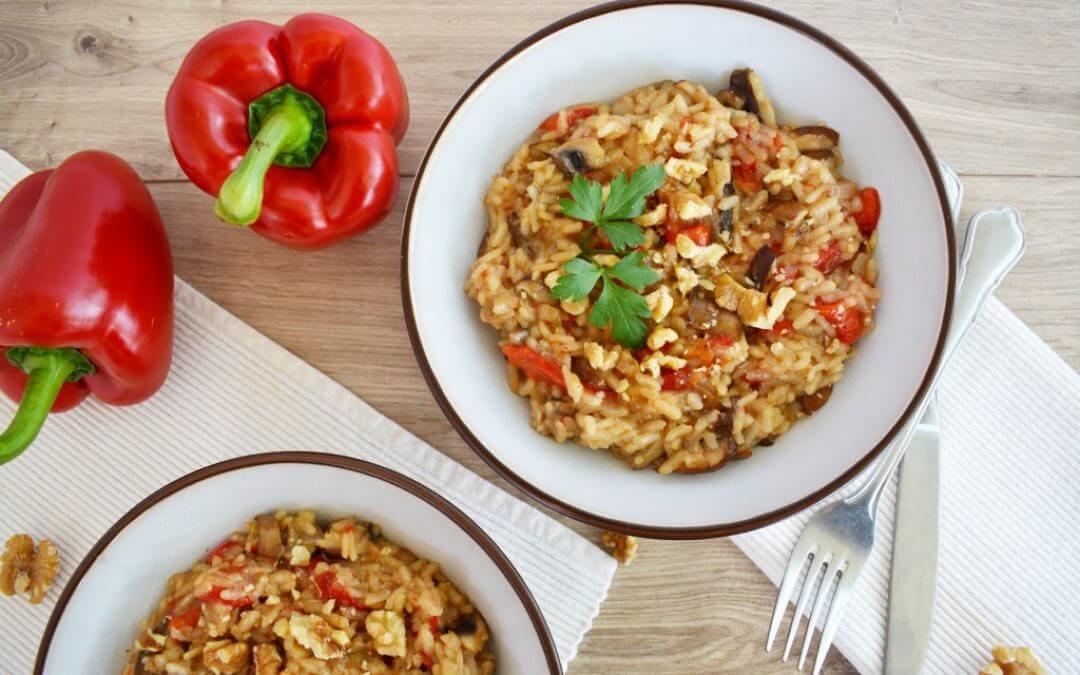 Geroosterde paprika risotto met paddenstoelen en walnootcrunch