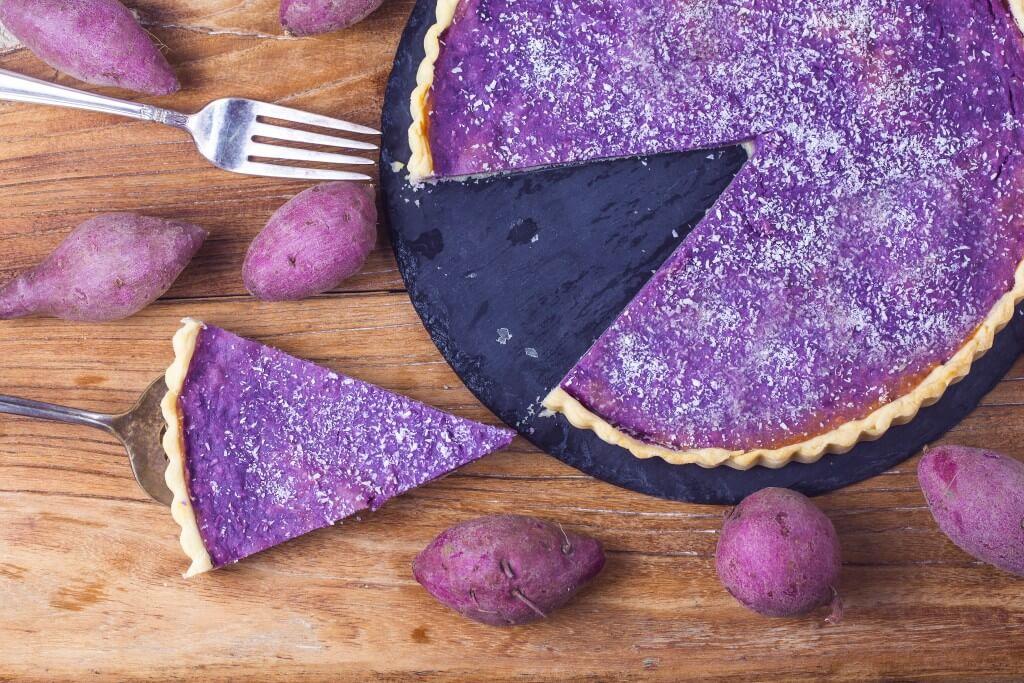 Ube: paarse zoete aardappel taart