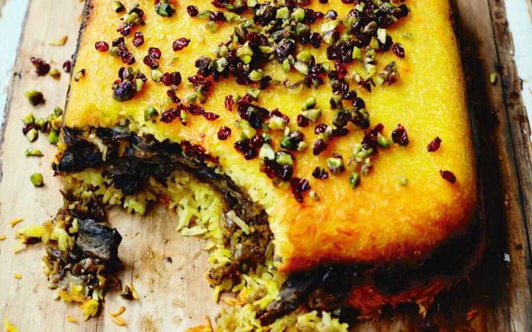 Perzische keuken: Tahcheen met aubergine en portobello