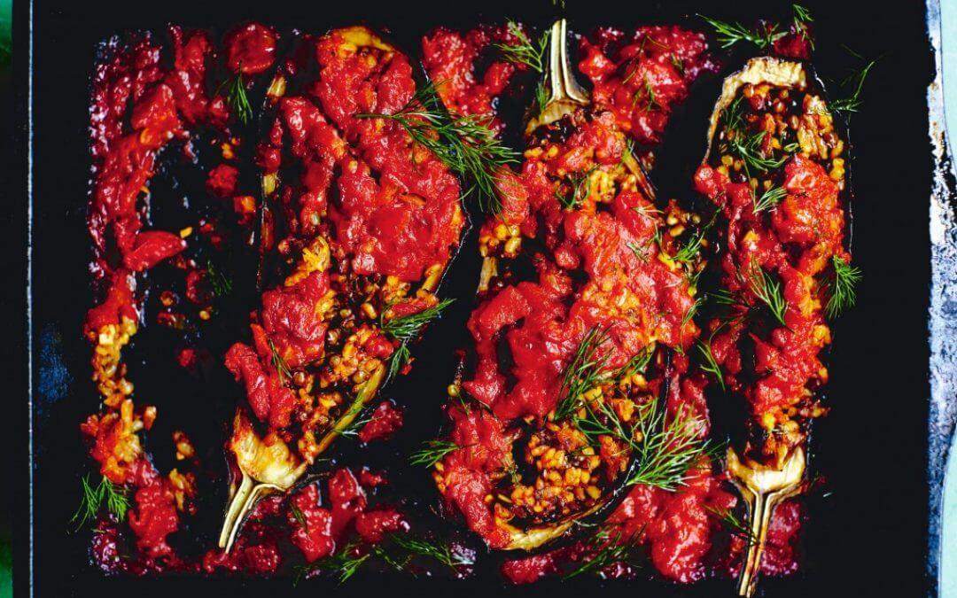 Perzische keuken: Gevulde aubergines