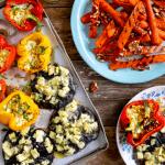 Barbecue: portobello's met camembert en gevulde paprika met feta