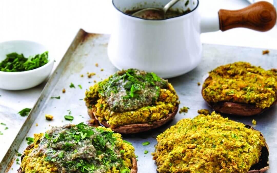 Gevulde portobello's met gekruide paddenstoelen-jus