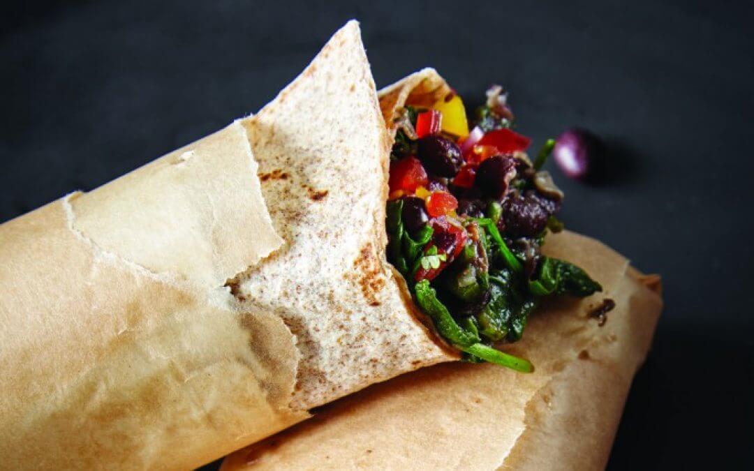 Burrito's met spinazie en zwarte bonen