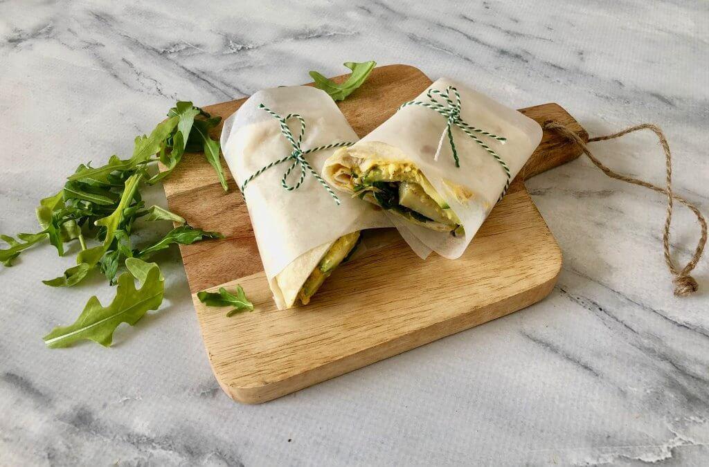 Wrap met paprika-fetaspread en gegrilde groenten