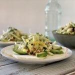Oerknol carpaccio met frisse salade en citrus vinaigrette