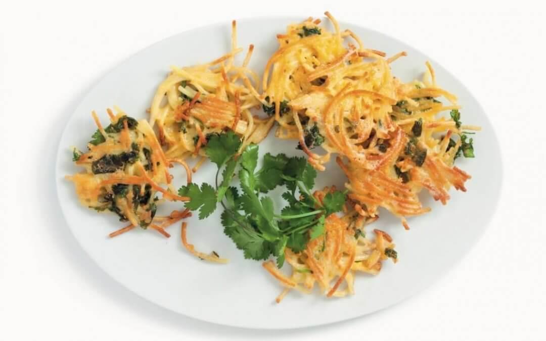 Vega hapjes easy: Parmezaan-chili-spaghettikoekjes