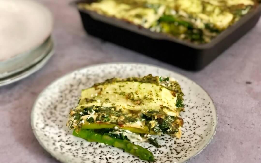 Groene pesto lasagne met broccoli en courgette