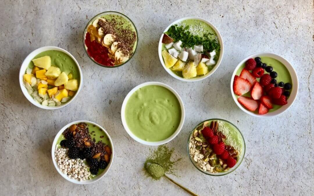 6 x Green Juice smoothiebowl met funky toppings