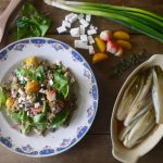 Hollandse quinoasalade met minibietjes, grie en gekarameliseerde witlof
