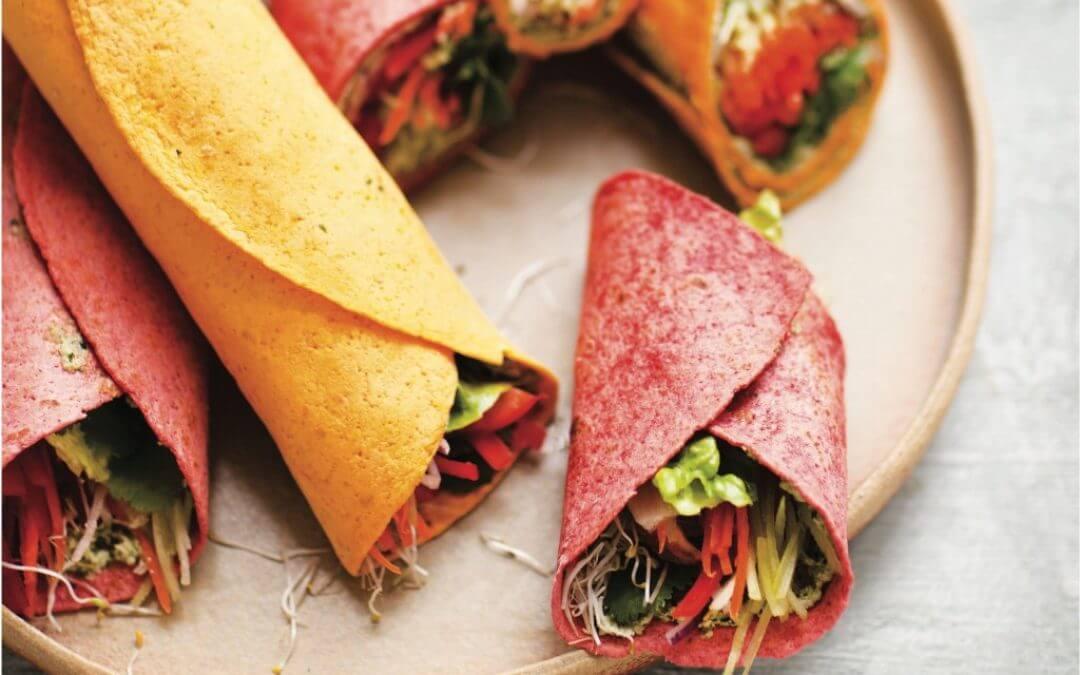 Vegan Monday: Wraps met zonnebloempittenspread, rauwkost en koriander