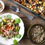 Geroosterde wintergroenten en gnocchi met paddenstoelen-baharatsaus