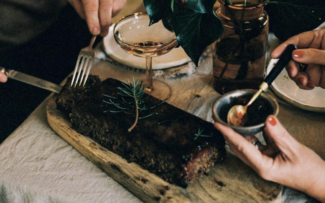 Kerst: 'gehaktbrood' van linzen, paddenstoel en cranberry's