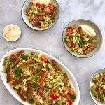 Vega budget: Frisse tabouleh met vegetarische shoarma en yoghurtdressing
