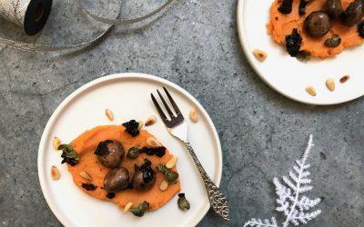 VEGAN Kerstmenu: vegan coquilles met zoete aardappelpuree