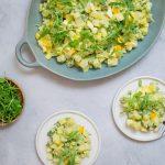 Vegetarische huzarensalade met aardappel en avocado