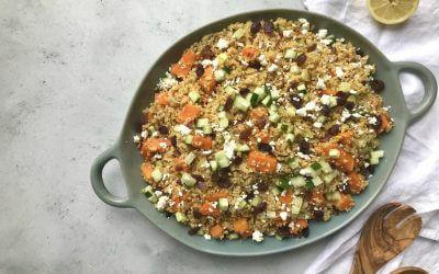 Goede start: bulgur maaltijdsalade met pompoen, rode ui en feta