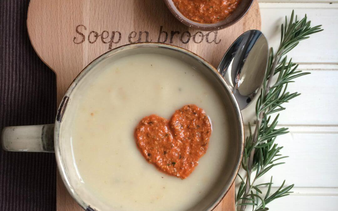Bloemkoolsoep met mosterd, gember en paprikaspread