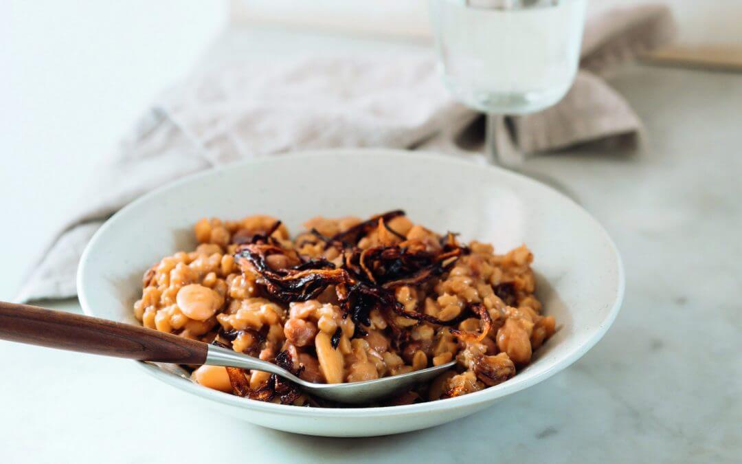 De Libanese keuken: gerstrisotto met bonen en kikkererwten