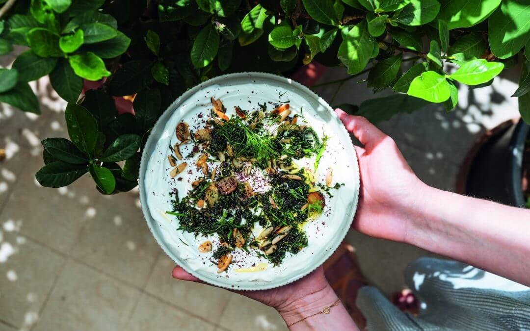 De Libanese keuken: geitenlabneh met gebakken kruiden en amandelen