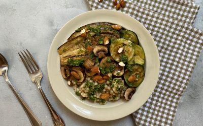 Vegan budget: parelcouscous met gegrilde groente en basilicum dressing