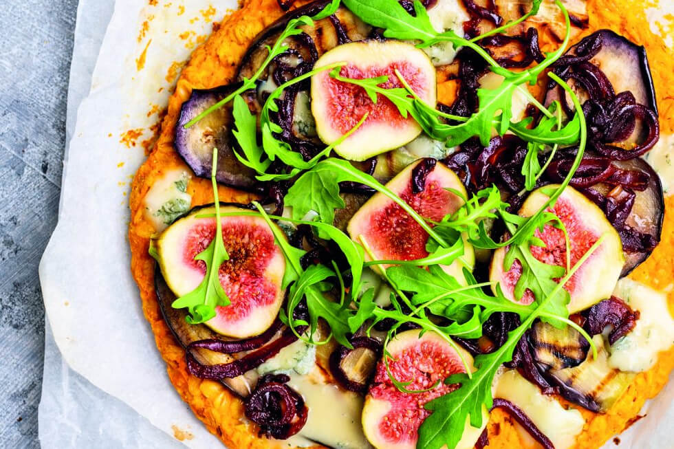 Vegabijbel: zoete-aardappelpizza met vijgen en gorgonzola