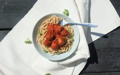 Spaghetti met vegan gehaktballetjes