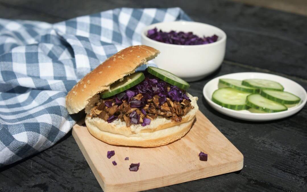 Vegan budget: broodje pulled mushroom