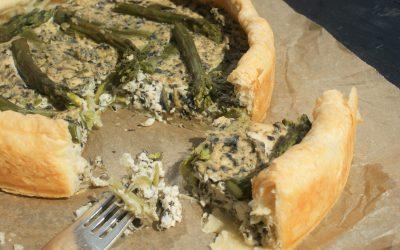 Vegan quiche met asperges en nori
