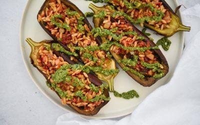 Pulled Oats met gevulde aubergine met pestosaus