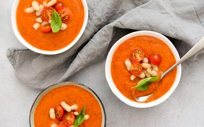 Maaltijdsoep van geroosterde paprika en Honingtomaten®