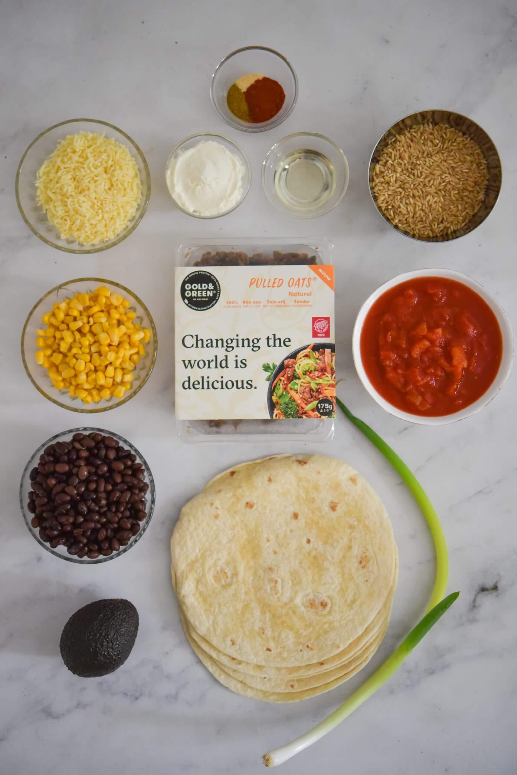 Gold & Green 2=1 tacobowl en enchiladas ingrediënten