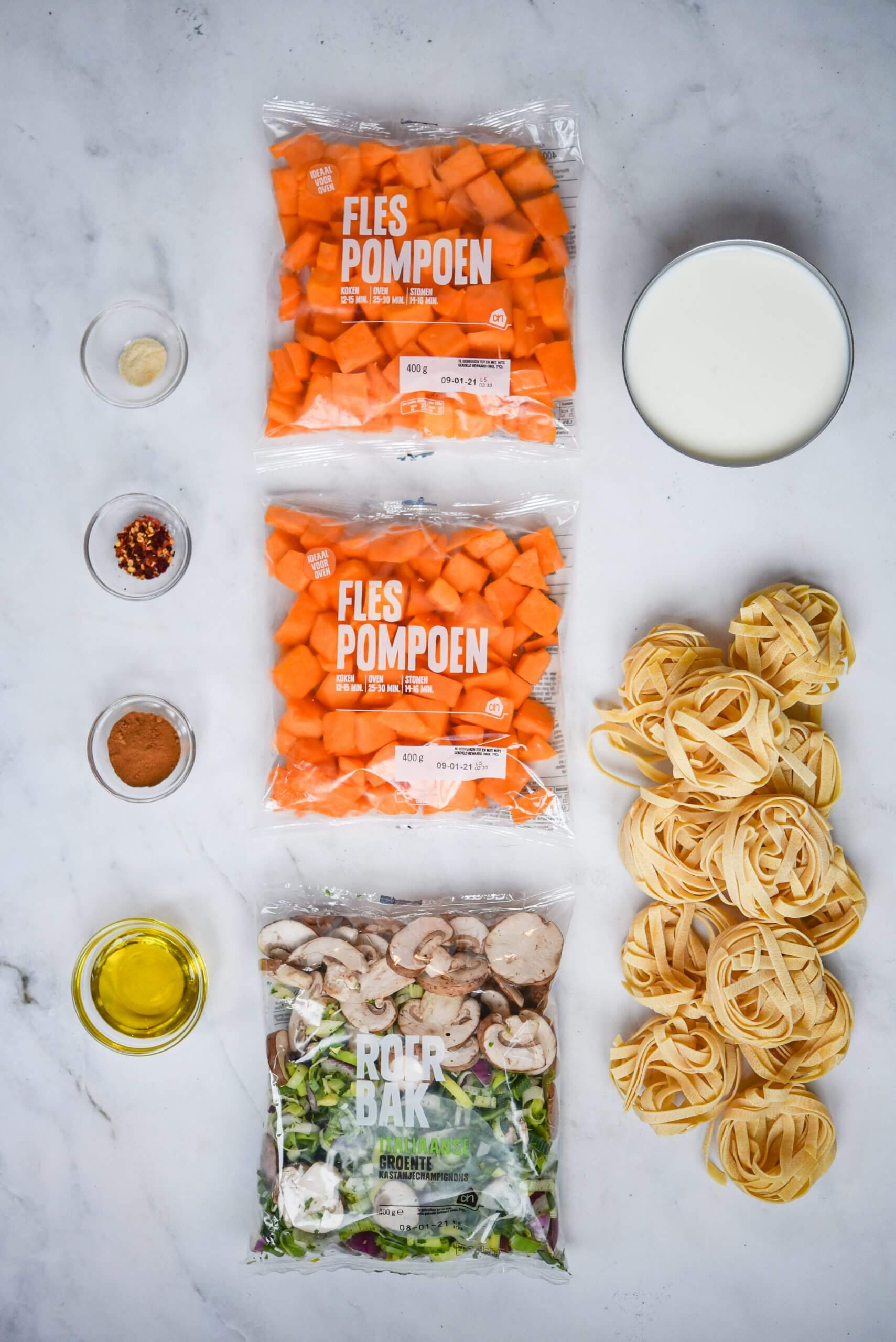 Romige pompoen tagliatelle met Italiaanse roerbakgroente - ingrediënten