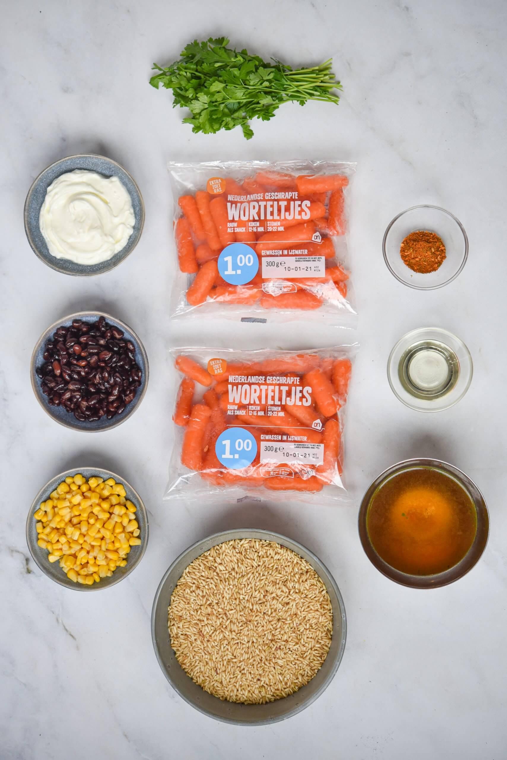 Mexicaanse wortelstoof met zilvervliesrijst en zure room - ingrediënten